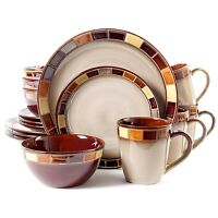 16-piece Dinnerware Set Kitchen Dinner Dishes For 4, Plates Beige And Brown