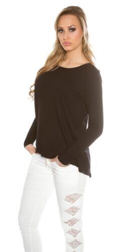Trendy KOUCLA Pullover 2in1 Maglione Camicia LAVORAZIONE A MAGLIA PULLOVER SWEATER CON ZIP