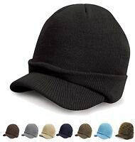 Blue Grey Black Camoflauge Brown Green Esco Army Knitted Peaked Beanie Ski Hat
