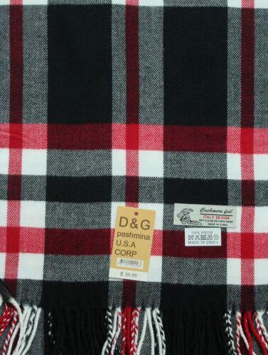 DG Men/'s Winter Scarf Check-Plaid White Black Red.Cashmere-Feel Warm Soft Unisex