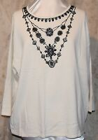 Victor Costa Stunning Occasion Beaded Faux Necklace V-neck Sweater White 3x