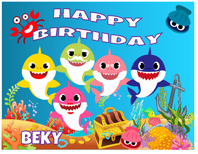 Baby Shark Edible Image Cake Topper Personalized Birthday 1//4 Sheet
