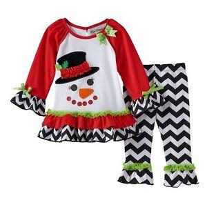 fe3fa1f2c0aa Image is loading New-Girls-RARE-EDITIONS-Snowman-Tunic-Leggings-Christmas-