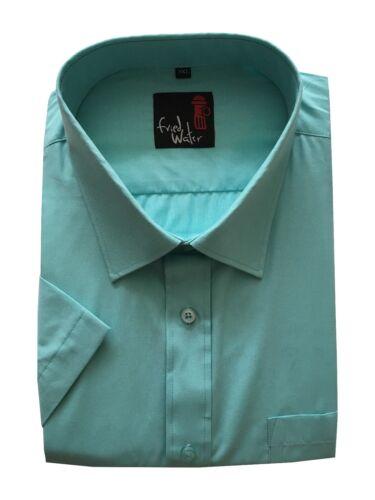 Da Uomo Manica Corta Big Size Estate Colori camicie a tinta unita 3xl 5xl Misto Cotone
