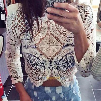 Fashion Women Sheer Sleeve Embroidery Lace Crochet Shirt Casual Crop Top Blouse