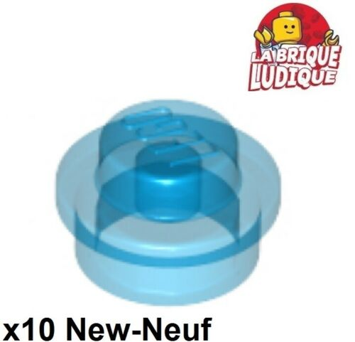 10x Plate Round 1x1 Straight Side bleu transparent//trans blue 4073 NEUF Lego