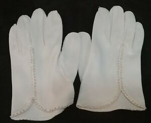 Vintage-Ladies-White-Gloves-Seed-Pearl-Trim-Hand-Stitched-Size-Small