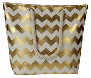 Lorenz-Large-Cheveron-Zigzag-Gold-Silver-Holiday-Tote-Beach-Bag-Beachbag