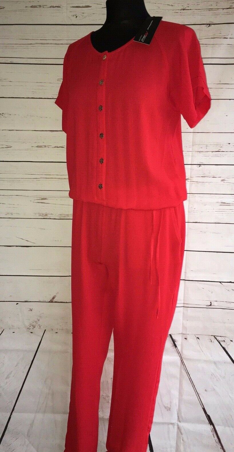 MARGO COLLECTION LADIES RED JUMPSUIT gold METAL BUTTONS BNWT KLP4