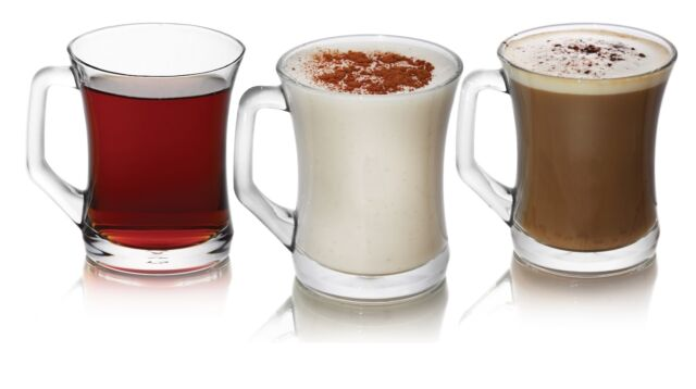 3 PCS GLASSES TEA COFFEE CAPPUCCINO  CUPS HOT DRINK MUGS CAFE RESTAURANT