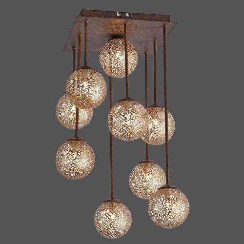Paul Neuhaus plafón Greta 9-flg malla metálica landhaus lámpara lámpara