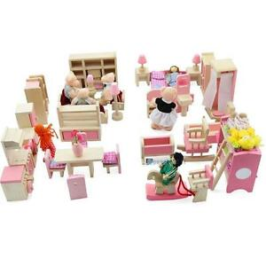 Dolls House Furniture Wooden Set People Dolls Toys For Kids Children Gift New TR