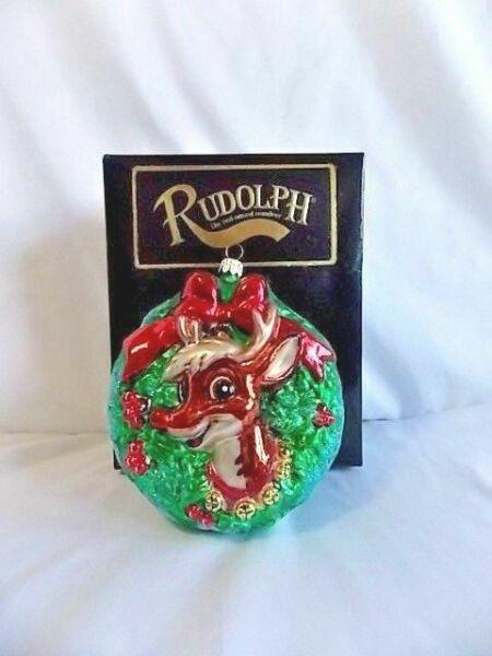 RADKO Christmas Ornament 1999 Rudolph in Wreath with Box ...