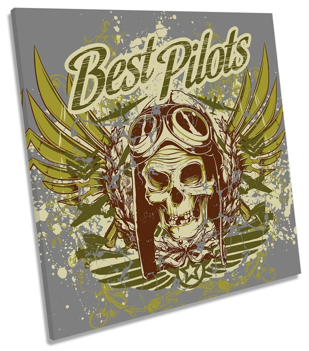 Best Pilots Skull Wings Picture CANVAS WALL ART Square Print