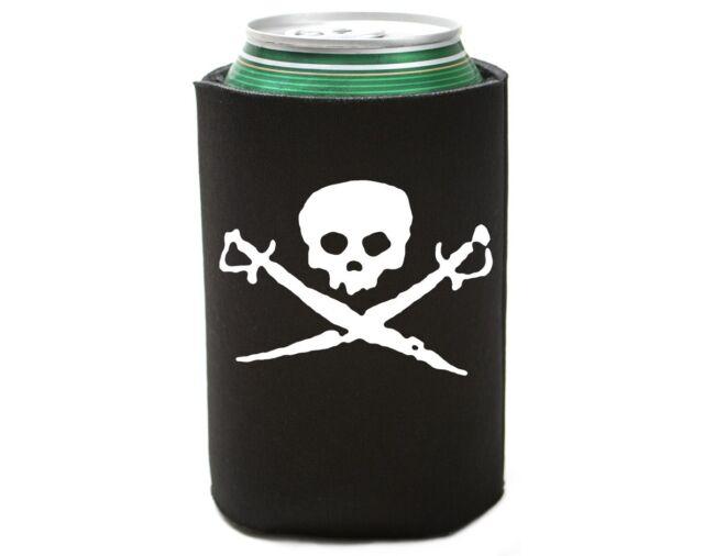 Skull   Swords Pirate Beer Pop Soda Can Koozie Koolie Cooler Insulator Cozy 98fba26dfa0