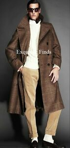 5K-NEW-TOM-FORD-BEIGE-BROWN-WOOL-PRINCE-OF-WALES-DOUBLE-BREASTED-POLO-COAT-XL