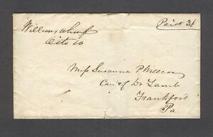 """Williams Wharf Octo 20"" 1850s Matthews County to Susanna Willcox, Frankford PA"