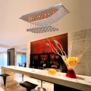 Modern Chandelier Rectangle Dining Room Pendant Light Rain
