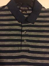 Mens MICHAEL KORS Blue STRIPED POLO Cotton Shirt SHORT Sleeve MEDIUM $69.50