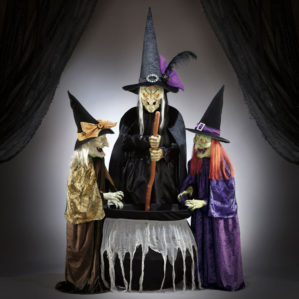 Moving Halloween Decorations: Halloween Wicked Stitchwick Sisters 3 Witches Animated 6ft