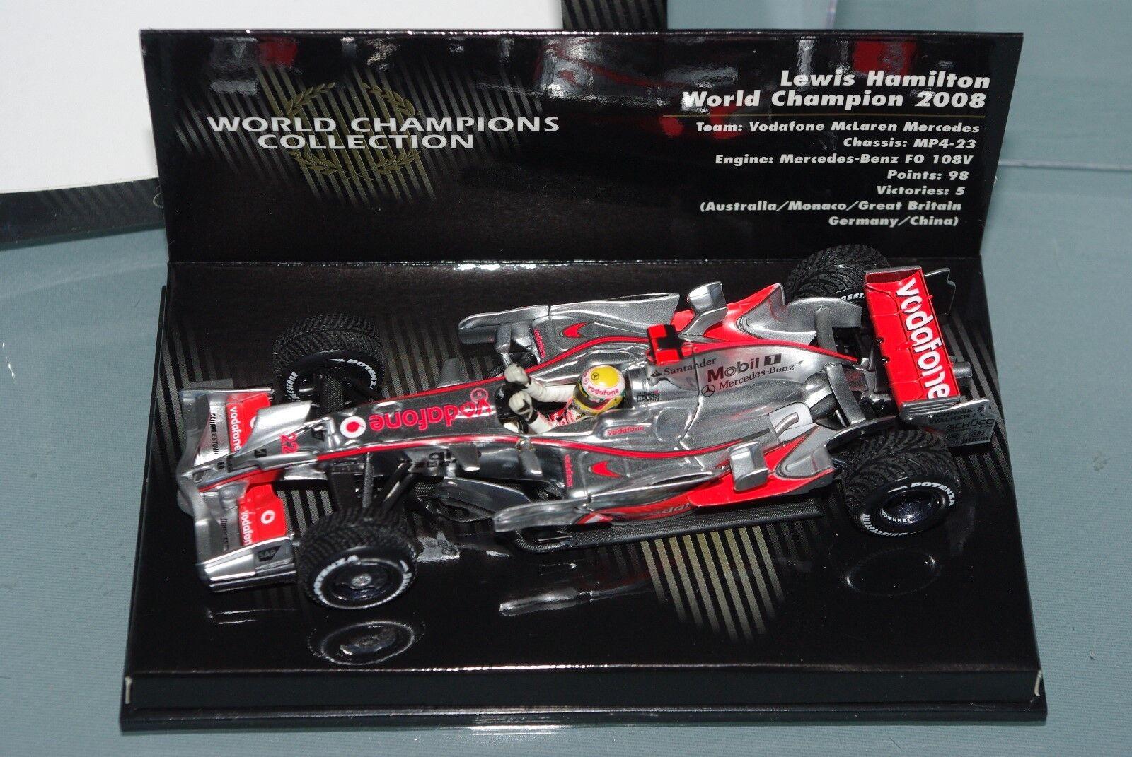 Minichamps F1 1 43 McLaren Mercedes MP4 23 Lewis Hamilton Campeón del mundo 2008