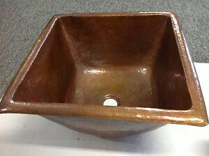 ... -16-Gauge-Square-Hammered-Light-Brown-Copper-Top-Mount-Bathroom-Sink