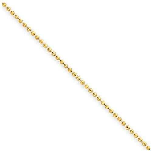 1mm 18K Gold Plated Sterling Silver 925 Italian DIAMOND CUT BALL BEAD Link Chain