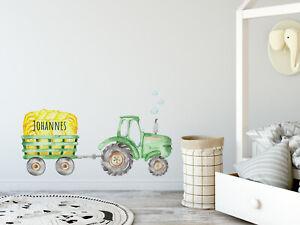 Wandtattoo Kinderzimmer Junge Traktor Mit Namen Babyzimmer Personalisiert Kinder Ebay