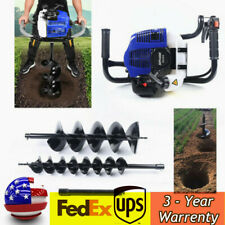 Gas Powered Earth Auger Post Hole Digger Borer Fence Ground 52cc Amp 2 Drill Bits