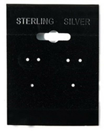 """100 Sterling Silver Black Hanging Earring Cards  2/"""" High x 1 1//2/"""" Wide with Lip"""