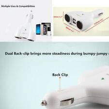 Auto 12V/24V 2 Way 2 Socket Cigarette Lighter Port Charger Adaptor 2 USB Charger
