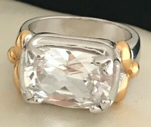 HSN-Cocktail-Ring-Cubic-Zirconia-Silver-Gold-Tone-Accents-Engagement-Sz-7-5g