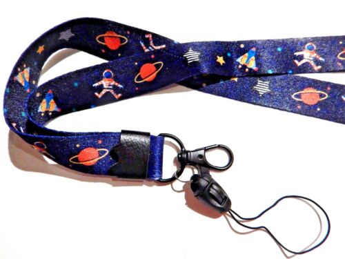 OUTER SPACE LANYARD astronaut rocket ship planet astronomy science strap key Y2