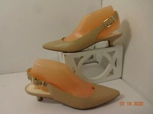 Anne-Klein-iflex-Womens-Size-8M-Beige-Slingback-Heels-Shoes