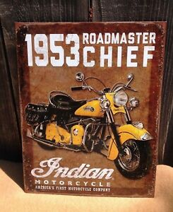 1953-Indian-Roadmaster-Chief-Collectible-Tin-Metal-Sign-Wall-Garage-Classic