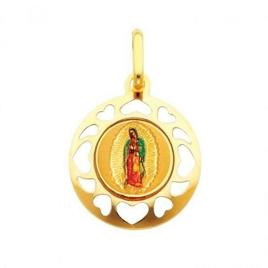 Our Lady of Guadalupe Hearts Disc Round Charm Real 14K Solid Yellow gold Pendant