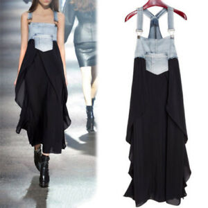 Women-Summer-Back-Casual-Denim-Splice-Chiffon-Maxi-Irregular-Hem-Long-Slip-Dress