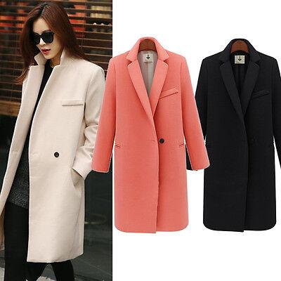 Women Winter Warm Wool Long Slim Fit Coat Jacket Trench Parka Overcoat Outwear