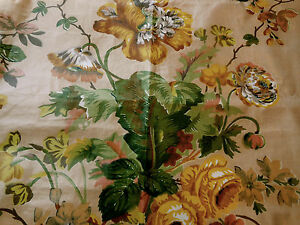 Antique-1850-French-English-Poppy-Roses-Chintz-Fabric-Mustard-Brown-Green-Blush