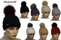 Strickmütze Wintermütze Mütze Bommelmütze Damenmütze Kunstfell Farbwahl