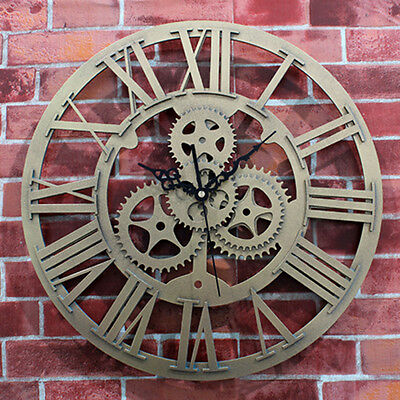 Retro Gear Wall Clock European Antique Roman Clocks Home Decor Watch XMAS GIFT