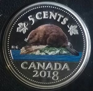2018-5-cent-Proof-Pure-Silver-Colourised-Coin-Canadian-Beaver-Classic-Design-RCM