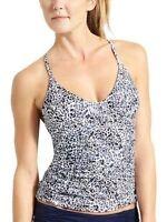Athleta Zimbabwe Smocked Tankini, Dress Blue, Size 34b/c