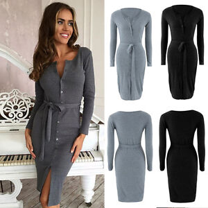 670c3e28387 Image is loading Womens-Bodycon-Button-Ribbed-Cardigan-Bandage-Long-Sleeve-
