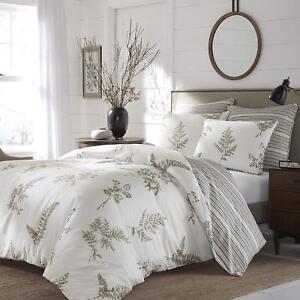 Luxurious-100-Cotton-Floral-Stripes-Reversible-3-pcs-King-Queen-Comforter-Set