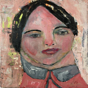 Original Portrait Painting 6x6 Wall Art Mixed Media Collage Katie Jeanne Wood