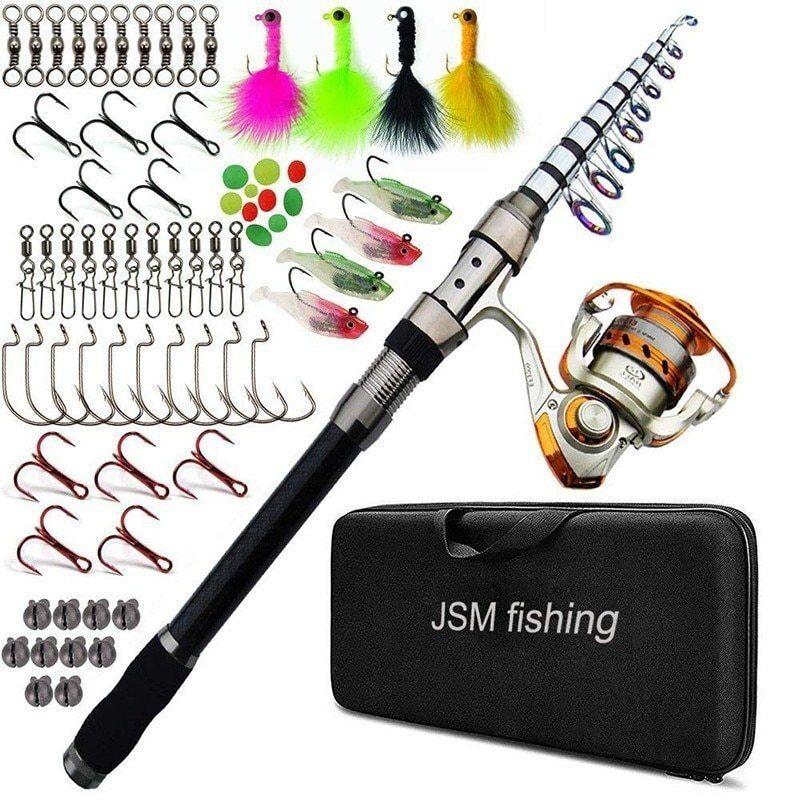 Japanese Fishing Rod Set Kit Carbon Fiber Pole Fishing Rod Sea Spinning Reel Rod