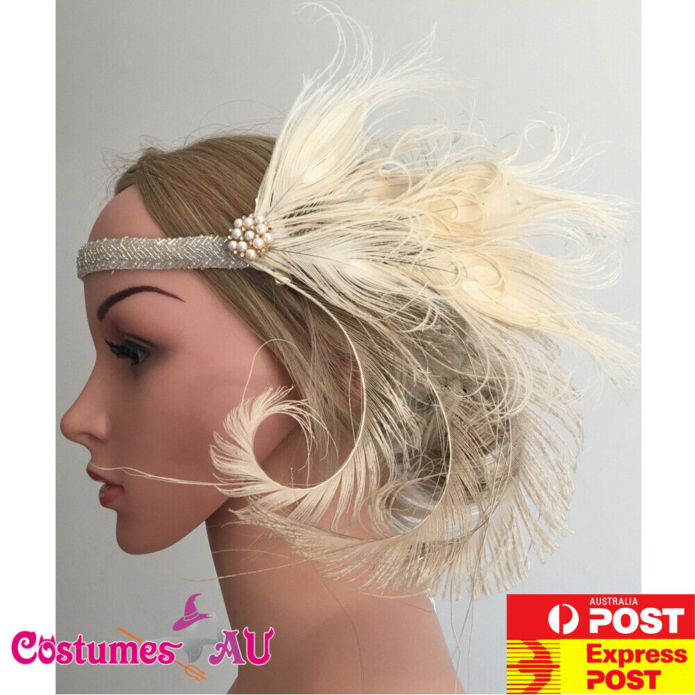 1920s Headband Feather Bridal Great Gatsby 20s Silver Wedding Flapper Headpiece