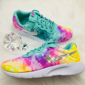 Bling Nike Tanjun Women Girls Shoes W Swarovski Crystals Tie Dye Tropical Twist