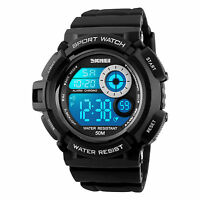 New Men's Boy Rubber Waterproof LED Date Alarm Sports Army Digital Wrist Watches